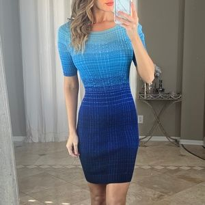 Ann Taylor Blue Ombre Striped Knit Ribbed Dress XS